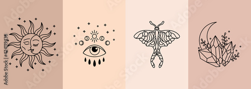 Set of Boho Witch Magic Collection. Moon,sun,moon moth,crystals,eye,magic potion. Esoteric and bohemian mysterious objects in doodle linear style