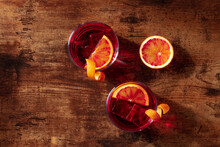 Negroni Cocktail, Overhead Flat Lay Shot With Blood Oranges And Copy Space