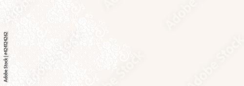 Fototapeta バラの花のレースと横長の背景イラスト obraz