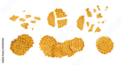 Fototapeta Round Waffle Isolated, Thin Waffled Cookie, Golden Belgian Waffles obraz