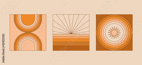 Photo Vector illustration in simple linear style - design templates - hippie style