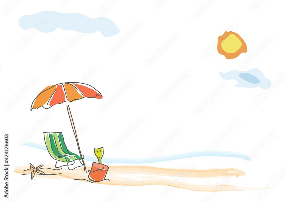 Fototapeta Vector background summer on the beach, childish drawing handmade.