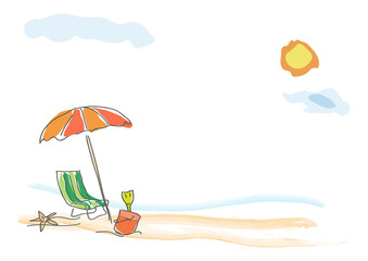 Vector background summer on the beach, childish drawing handmade.