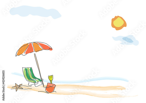Stampa su Tela Vector background summer on the beach, childish drawing handmade.