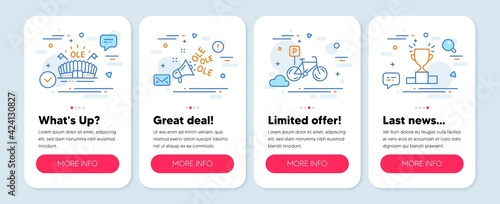 Set of Sports icons, such as Ole chant, Bicycle parking, Sports arena symbols. Mobile screen mockup banners. Winner podium line icons. Megaphone, Bike park, Event stadium. Competition results. Vector