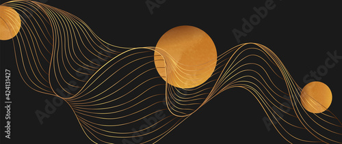 Fototapeta Gold abstract line arts background vector. Luxury wall paper design for prints, wall arts and home decoration, cover and packaging design. obraz