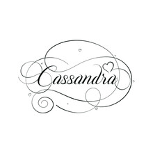 """English Calligraphy """"Cassandra"""" Name, A Unique Hand Drawn Vector Design For Wedding And More."""