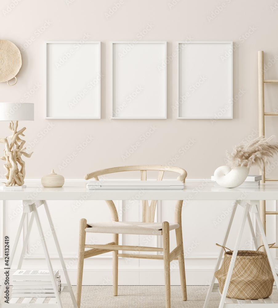 Fototapeta Poster mock up in home office interior background, boho style, 3d render