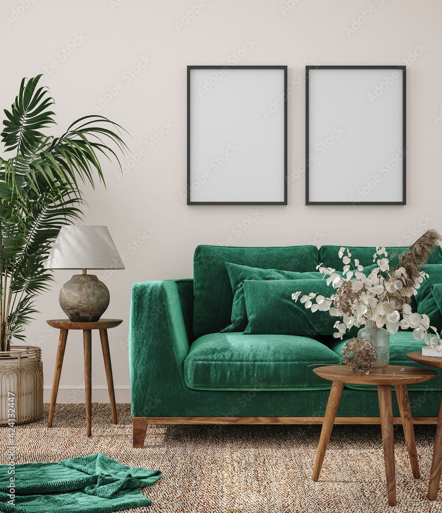 Fototapeta Frame mockup in modern interior background with dark green sofa, 3d render