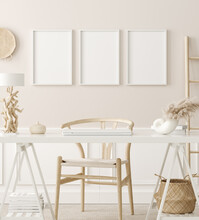 Poster Mock Up In Home Office Interior Background, Boho Style, 3d Render