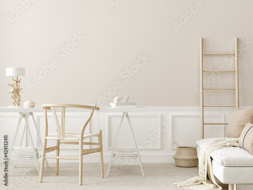 Obraz Wall mockup in office interior background, boho style, 3d render - fototapety do salonu