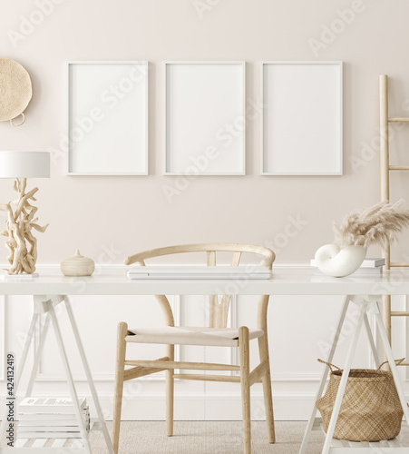 canvas print motiv - artjafara : Poster mock up in home office interior background, boho style, 3d render