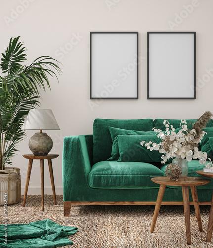 Obraz Frame mockup in modern interior background with dark green sofa, 3d render - fototapety do salonu