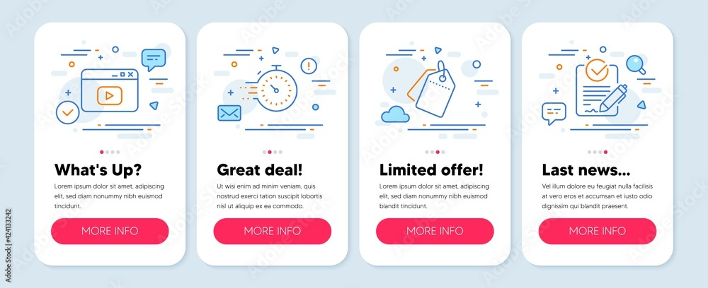 Fototapeta Set of Technology icons, such as Video content, Sale tags, Timer symbols. Mobile screen app banners. Rfp line icons. Browser window, Discount labels, Deadline management. Request for proposal. Vector