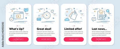 Set of Technology icons, such as Video content, Sale tags, Timer symbols. Mobile screen app banners. Rfp line icons. Browser window, Discount labels, Deadline management. Request for proposal. Vector