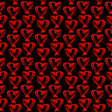 Seamless Pattern Red Black Heart Brush Strokes Lines Design, Abstract Simple Scandinavian Style Background Grunge Texture. Trend Of The Season. Can Be Used For Gift Wrap Fabrics, Wallpapers. Vector
