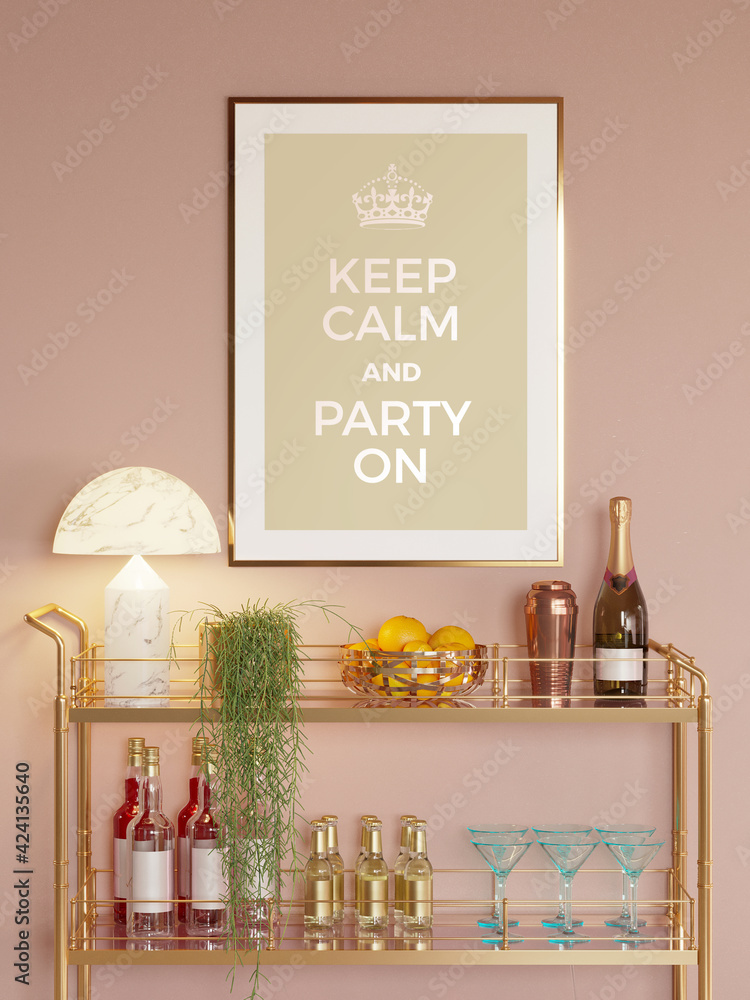 Fototapeta 3d render of a modern salmon red room with a brass mini bar trolley with glasses, bottles, a party poster and a hanging plant