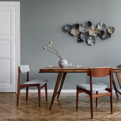 Modern dining room interior with glamour wooden oak table , stylish retro chairs and design decoration. Template. Home decor. Square photo.