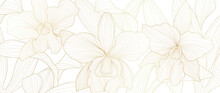 Luxury Gold Orchid Background Vector. Golden Orchid Line Arts Design For Wallpaper, Wall Arts, Fabric, Prints And Background Texture, Vector Illustration.