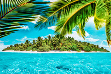 Whole Tropical Island Within Atoll In Tropical Ocean On A Summer Day. Uninhabited And Wild Subtropical Isle With Palm Trees. Equatorial Part Of The Ocean, Tropical Island Resort.
