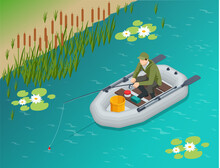 Isometric Fisherman With A Fishing Rod Sits In An Inflatable Boat And Catches Fish On A Lake Or River. Fisherman Sitting With Fishing Rod And Watching At Float In Lake.