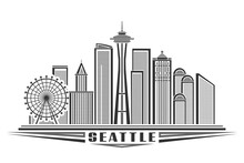 Vector Illustration Of Seattle, Monochrome Horizontal Poster With Outline Design Of Seattle City Scape, Urban Line Art Concept With Unique Decorative Letters For Black Word Seattle On White Background