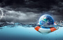 Earth On Lifebuoy In Storm Ocean - 3d Rendering With Elements Are Furnished By NASA