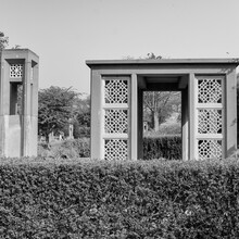 Inside View Of Architecture Tomb Inside Sunder Nursery In Delhi India, Sunder Nursery Is World Heritage Site Located Near Humayun's Tomb In Delhi, Sunder Nursery Inside View – Black And White