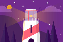 Illustration Of A Lighthouse At Night, Illustration In Purple Tones, Eps 10
