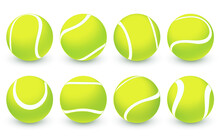 Set Of Vector Realistic Tennis Balls Isolated On White Background. Sport Competition Symbol. Green Tennis Balls Collection With Texture And Shadow. Vector Illustration For Your Design EPS10
