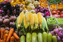 Fresh Corn Cobs, Farmers Market, Open Counter Of Vegetables. Healthy Organic Food. Autumn Harvest