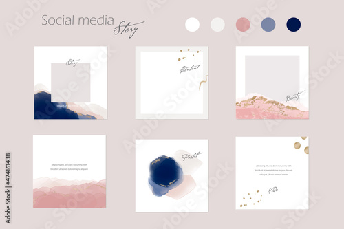 minimal Instagram social media story post feed branding background or web banner template. pink nude pastel gold watercolor vector texture frame mockup. for beauty, jewelry, cosmetics, self care