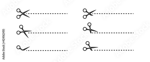 Scissors cut line set black icon on white background. Vector isolated