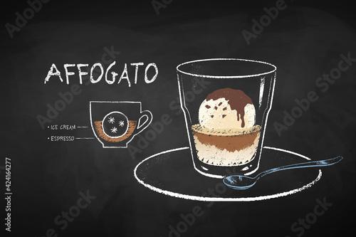 Obraz Chalked illustration of Affogato coffee recipe - fototapety do salonu