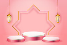 3d Product Display Pink And White Podium Themed Islamic With Gold Lantern For Ramadan