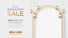 Ramadan Kareem Sale Banner Islamic Ornament Lantern Background, Ramadan Sale Social Media Post With Empty Space For Photo