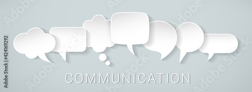 Foto White icons communication concept - stock vector