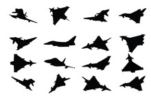 Collection Of Military Fighter Jet Vector Silhouettes On A White Background