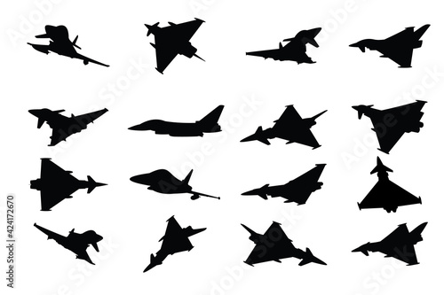 collection of military fighter jet vector silhouettes on a white background Fototapeta