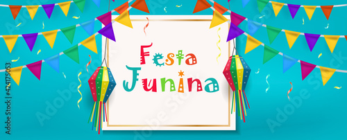 Obraz na plátně Festa Junina banner