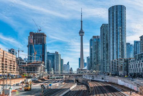 Fototapeta premium CN Tower is seen from an unusual angle, Toronto, Canada