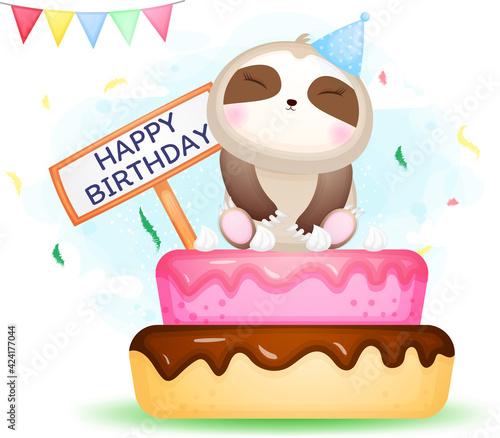 Fototapeta premium Cute doodle sloth sit on birthday cake cartoon character Premium Vector