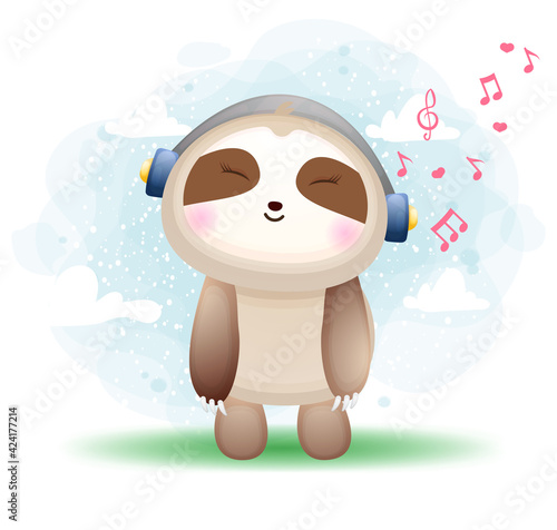 Fototapeta premium Cute happy doodle sloth listening music cartoon character Premium Vector