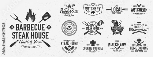 Fotografering Vintage Barbecue logo set