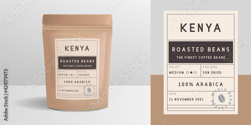 Obraz Coffee zip package design. Package mockup template for logo, brand, sticker, label. Vector illustration - fototapety do salonu