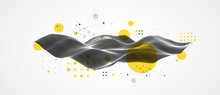 The Abstract Wave Is Made In A Frame Style In A Bright Gradient Color. Template For Science And Technology Presentation.