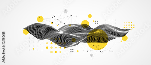 Obraz The abstract wave is made in a frame style in a bright gradient color. Template for science and technology presentation. - fototapety do salonu
