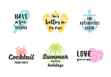 Summer Holidays Typography Inspirational Quotes Design For Posters Or Apparels Set