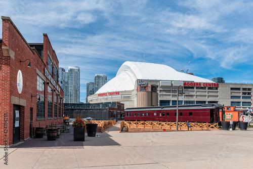 Fototapeta premium Toronto Railway Museum in the Roundhouse Park in the downtown district, Toronto, Canada