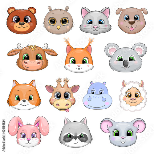 Fototapeta premium Set of cute cartoon animal heads: bear, owl, cat, dog, bull, squirrel, koala, fox, giraffe, hippo, llama, rabbit, raccoon, mouse.